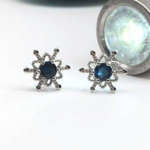 Nette Schneeflocke Ohrstecker 5mm Runde natürliche blaue Saphir Ohrringe für Frau reine feste 925 Sterling Silber Saphir Schmuck