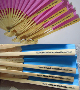 Personalized gift wedding hand fans paper bamboo custom name or logo
