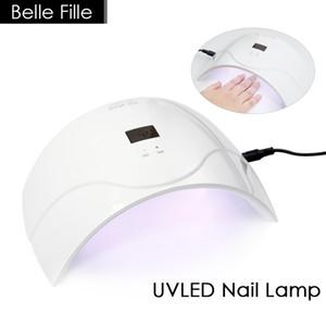 Venda por atacado- BELLE FILLE UVLED SUN5Q Prego Secadores 24W Professional UV LED Lâmpada Prego Secador Polonês Máquina de Cura Nail Art Tools Gel