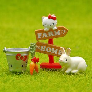1 комплект 4шт мультфильм КТ кошка указатель смолы ремесло цветочный горшок декор морковь кролик террариум фигурки сказочный сад миниатюры гном