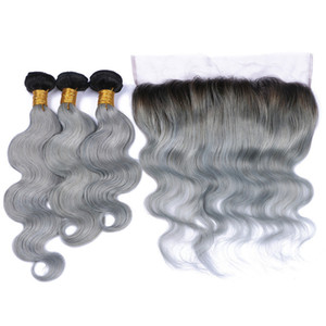 Virgin Peruvian 1B Grey Two Tone Body Wave Human Hair Weaves With 13*4 Full Lace Frontal Closure Silver Gray 1b Ombre Hair Bundles