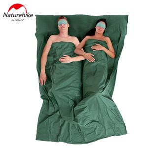 Wholesale- Naturehike 2 Person Thin Schlafsack Linner Futter mit Pillowcase 40 gekämmte Baumwolle Radfahren Spielraum-Zelt Zubehör 220x160cm