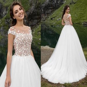 Illusione di sfera di Tulle abito da sposa scollo con bordare Fiore sposa abito sweep treno cerniera posteriore abiti da sposa