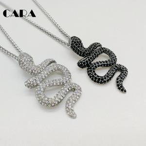 CARA Новое дизайнерское ожерелье Циркониевый змей кулон ожерелье cz камни животное змея модное ожерелье для мужчин CAGF0418