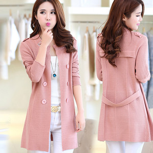 Wholesale-2016 New Fashion Autumn Spring Women Sweater Cardigans Casual Warm Long Design Female Knitted Coat Cardigan Sweater Lady