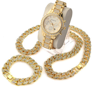 """3 개 / 세트 힙합 힙합 다이아몬드 테크노 포장용 시계 24 """"Cuban Stone Chain Bracelet Necklace Watch Set"""