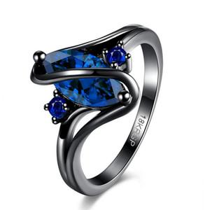 Kadın Mavi Oval Yüzük Moda Siyah Takı Vintage Düğün Erkekler Ve Kadınlar Için Mor Çapraz Yüzük Doğum Günü Hediyeleri