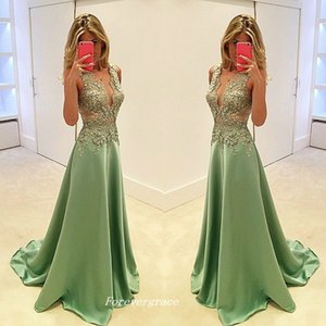 Free Shipping Green Colour Long Evening Dress High Quality A Line Lace V Neck Women Wear Special Occasion Party Gown Plus Size