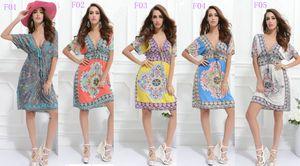 Новый стиль женщин плюс размер Bat рукав глубокий V-образным вырезом Сексуальная Богемия печати платье красивая повседневная dress Sexy party Dress free shippin