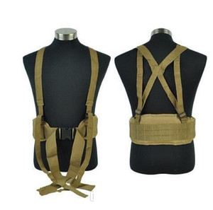 Airsoft Molle Tactical Combat Waist Padded Belt with H-shaped Suspender Adjustable High Quality Nylon Cummerbunds