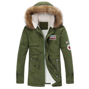 Gros-2016 nouvelle arrivée hommes épais hiver chaud vers le bas manteau de fourrure col vert armée hommes parka grands chantiers long manteau de coton veste parka hommes
