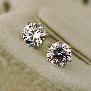 Hombres amantes de las mujeres Pendientes de botón Joyas Moda de alta calidad 0.5ct, 1ct, 2ct, 6 puntas 100% Plata Moissanite Pendientes de diamantes para boda niño