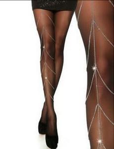 Sexy Lega da donna Catena 2-in-1 Vita Link Argento Tono Trendy catena di gioielli Crystal Body Belly Chain