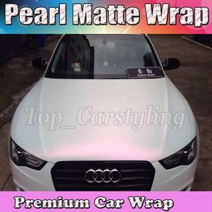 Premium Satin White a pink shift Wrap With Air liberan Pearlescent Matt Film Car Wrap styling gráfico 1.52x20m / rollo