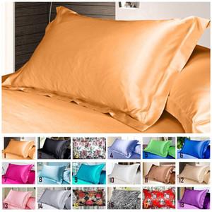 Basit Tasarım Emülasyon İpek Saten Yastık Tek Yastık Kapak Çok renkli 48 * 74cm