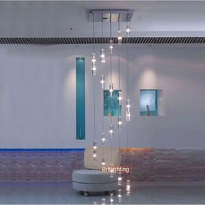 hotel Scala lampadario moderno apparecchio di illuminazione piazza Lampadario illuminazione a goccia pioggia Lampadari a chiocciola a chiocciola in cristallo Acciaio inossidabile