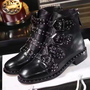 Fashionville * U750 40 negro auténtico semental de cuero planas del cinturón botas cortas de punk enérgico