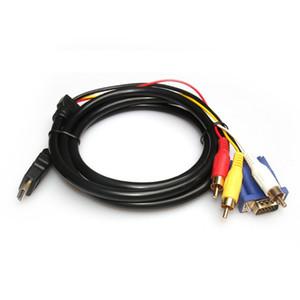 Cavo adattatore audio video 1,8 M 6Ft per HDMI HDTV a VGA e 3 cavo adattatore convertitore RCA 1080p