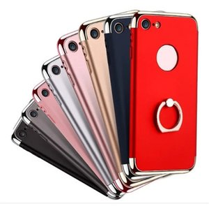 Para iPhone 7 7plus 6 6s 6plus Electroplate PC antidetonante removível 3 em 1 disco Moer Arenoso caso capa com anel titular