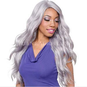 Parrucche piene naturali ondulate del merletto dei capelli di Remy dei capelli di Grey del brasiliano di vendita calda d'argento per le donne nere Trasporto libero