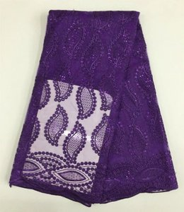 5 Yards pc New fashion french net lace fabric and purple samll sequins embroidery african mesh lace for party dress BN42-11