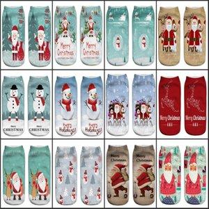 Feliz Natal Novo Harajuku 3D Impressão Meias de Natal Mulheres Kawaii Calcetines Tornozelo Femme Mujer Meias Engraçadas Meias Bonito