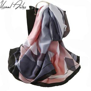 [Görsel Akslar] Ekose İpek Eşarp 2020 Moda Kadınlar Oblong% 100 Saf Fular İpek Marka Şal ve Atkılar