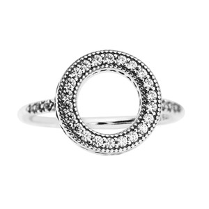Sterling silver jewelry for woman Hearts of PAN Halo Clear CZ rings Authentic Pure Sterling Wholesale Ring European Style mother's day gift