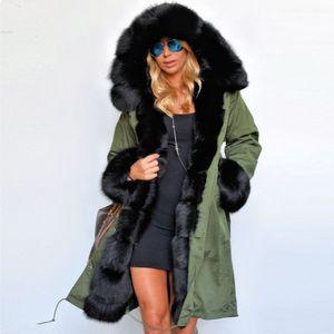 Gros- Femmes 2016 d'hiver en fausse fourrure Manteau Casual Parka à capuche femme Sweats à capuche Veste longue Outwear chaquetas mujer