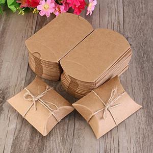 Scatola del cuscino di 100pcs / lot, scatole di Kraft, contenitore di caramella della scatola di regalo della carta kraft con la corda (2,7x2 pollici)