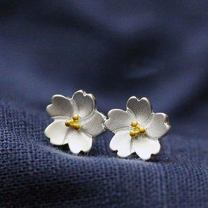 الأزياء 925 فضة زهرة أقراط مجوهرات أزهار الكرز صغيرة الأزرار الخواتم النساء الفتيات سحر زهرة الأذن الأزياء والمجوهرات