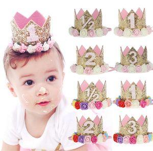 Mignon Nouveau-né Mini Gold Crown avec fleurs rose Bandeaux pour bébé filles couronne fête d'anniversaire Accessoires cheveux enfants cadeau A9533