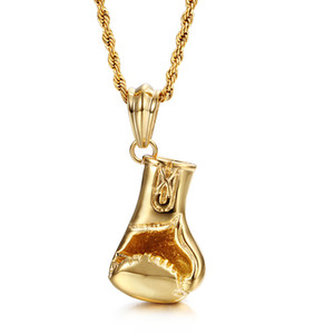 New Design Sports Style Jewelry Gifts Mens Gold Biker stainless steel Shiny boxing gloves 50mm*24mm Pendant Necklace 22''