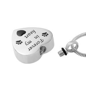 IJD9704 colgantes de las mujeres de calidad superior collar largo Pet Cat Dog Cremation Urn Necklace contenedores de crema de acero inoxidable para mascotas