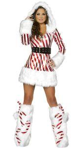 Il pullover di Natale di buona qualità si veste il costume sexy sottile delle donne del costume di spettacolo di carnevale caldo rosso di stile delle bande rosse per l'adulto
