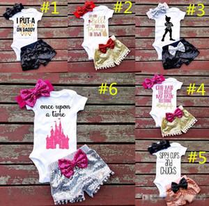 7 Stilleri Bebek kız INS mektuplar tulum takım Çocuk Kısa kollu üçgen tulum + madeni pul şort + ilmek Saç bandı 3 adet setleri giysi