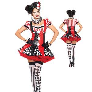 TPRPCO смешные Harley Quinn костюм Женщины взрослый клоун цирк косплей карнавал Хэллоуин костюмы для женщин