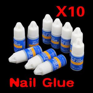 Wholesale- 10x 3g False Nail Art Decoration Tips Fast Drying Acrylic Glue Manicure