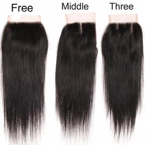 """100% non transformés brésiliens péruviens indiens malaisiens dentelle fermeture des cheveux tissent des morceaux de fermeture 8-20 """"(4 * 4) des fermetures de cheveux humains à armure droite"""