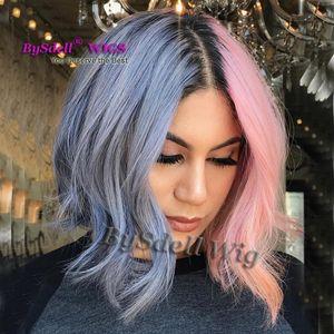 Machine de cheveux de couleur rose commune résistant à la chaleur synthétique deux franges bleu / perruques avant de dentelle avec racine noire ondulée perruque cosplay Nicki Minaj