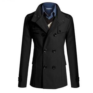 Wholesale- SYB 2016 NEW Slim Fit Long Coat Warm Double Breasted Peacoat Coat Jacket Black