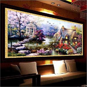 80 * 45 cm Diamante redondo Pintura 5d Mosaico Paisajes Jardín Lodge Pintura Kits de punto de cruz Diamantes Bordado Decoración del hogar