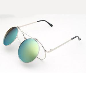 Мода паровой панк солнцезащитные очки раскладушка ретро очки мужчины женщины очки индивидуальность раскладные очки металлические панк солнцезащитные очки оптом