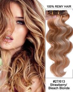 ELIBESS 인간의 머리카락에 레미 유럽 클립 클립에 인간의 머리카락 연장에 클립 7pcs / set 150g Colore 27/613 Mixed