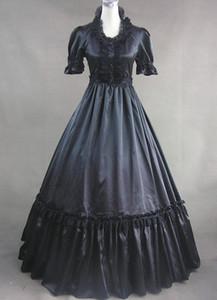 Gonna in pizzo stile foglia di loto Gorgeous Retro Cosplay Manica corta Prom Dress Moda Gothic Lolita semplice abito lungo 2017 Real Photo