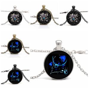Gros diy bijoux bricolage Poissons verre cabochon collier couleur argent chaîne temps gem douze constellation pendentif colliers cadeau pour les femmes
