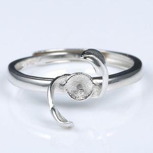 Fede nuziale di fidanzamento delle donne d'argento sterlina delle donne dell'argento sterlina della perla di 8-10mm semi supporto impostazione