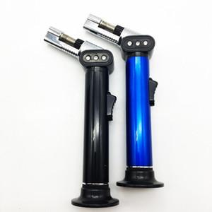 Alta qualità di un pezzo Slim Blu Black Metal antivento Jet butano gas riutilizzabile Cigarette Lighter della fiamma della torcia