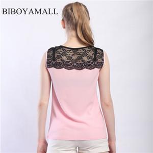 BIBOYAMALL Женщины Блузки Лето 2017 Сексуальная Женская блузка Цветочные кружева Топы Шифон рубашка Элегантная женская рубашка Плюс размер 5XL Розовый
