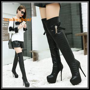 Cuoio nero sexy delle donne sopra il ginocchio stivali Bowtie inferiori rossi Thin Tacchi alti taglie da 35 a 40